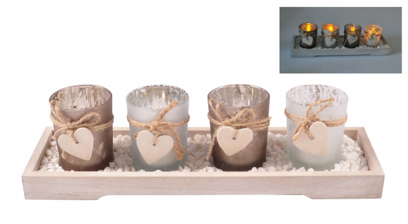 Dekotablett mit 4 Teelichthalter und Dekosteine Tischdeko Holztablett Windlicht