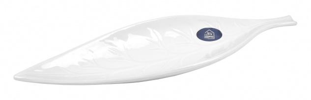 Keramik-Dekoschale Blatt weiß 48, 5cm Keramikschale Dekoschale Teller Tischdeko