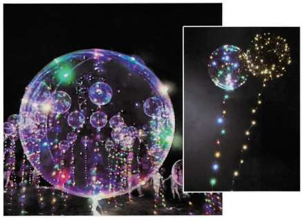 3x LED Heliumballon Luftballon Lichterkette bunt Partydeko Hochzeit Strandparty