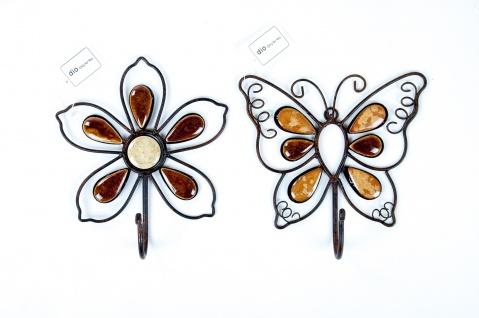 Metall-Haken Garderobenhaken Wandhaken Kleiderhaken Blume Schmetterling Deko