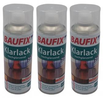 3x Baufix Alkydharz Lackspray Klarlack glänzend 400ml Sprühlack Sprühdose