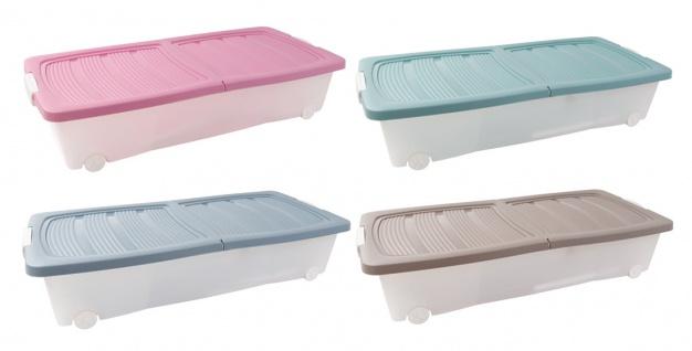 Rollenbox + Klappdeckel Unterbettbox Aufbewahrungsbox Spielzeugkiste Allzweckbox