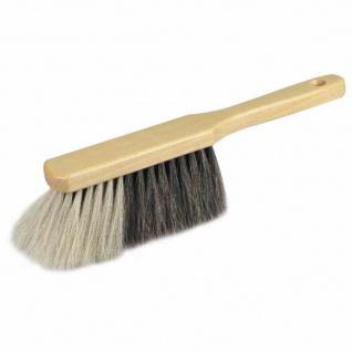 Handfeger Naturhaar 29 cm weißer Bart, naturfarben lackiert