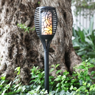 Solar Gartenfackel Rattanoptik Gartenlampe Gartenlaterne Solarleuchte Solarlampe