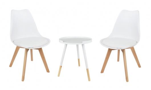 Sitzgruppe weiß Beistelltisch Schalenstuhl Set Tabletttisch Esszimmerstuhl Deko