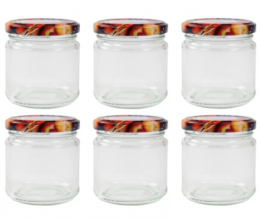 6er-Set Einmachglas mit Schraubdeckel Früchtemotiv 210ml Vorratsglas Geleeglas