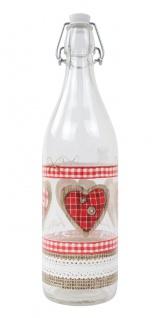 Glasflasche mit Bügelverschluss 1 Liter Love Wasserflasche Trinkflasche Flasche