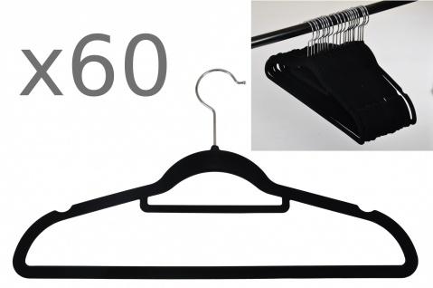 60er Set rutschfeste Kleiderbügel Samt-Bezug beflockt Hosenbügel Platzsparend