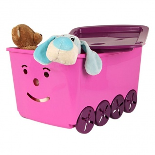Kinderzimmer Box rosa 2er-Set Aufbewahrungsbox Spielzeugkiste Kindermöbel Smiley