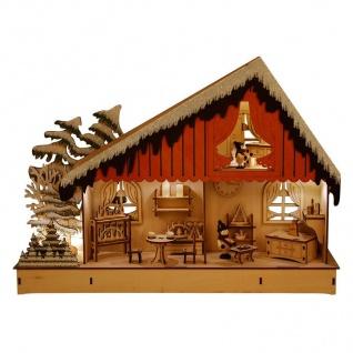 LED Holzhaus warmweiß beleuchtet 45x32x10cm Weihnachtsbeleuchtung Weihnachtsdeko