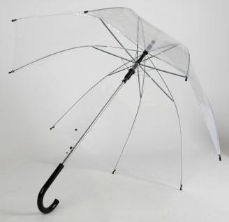Automatik Stock-Regenschirm transparent 90cm Stockschirm Schirm durchsichtig