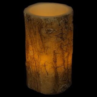 LED-Kerze Baumrinde 14x8, 5cm Baumstamm-Design Echtwachs Motivkerze Dekokerze