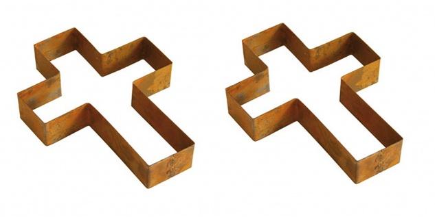 2x Bellissa® Corten Kreuz 33 x 25 cm Pflanzkreuz Grabschmuck Umrandung Edelrost