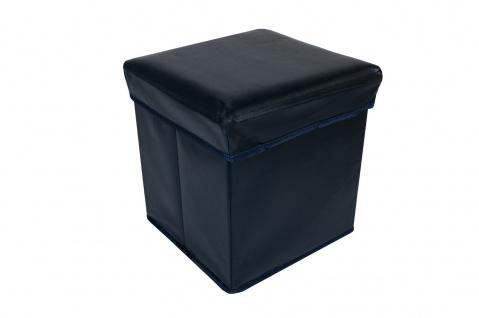 Faltbarer Sitzwürfel Aufbewahrungsbox Sitzhocker Sitzbank Box Fußbank dunkelblau