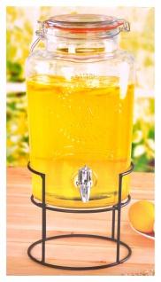 Getränkespender 5L Zapfhahn Metallständer Wasserspender Getränke Portionierer