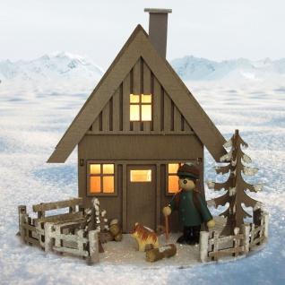 LED Holzhaus Winterlandschaft ca 20x18, 5cm Weihnachtsbeleuchtung Weihnachtsdeko