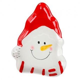 Weihnachtsteller Schneemann Plätzchenteller Adventsteller Tischdeko Keramik