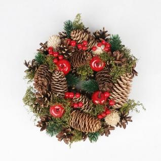 Weihnachts-Dekokranz mit Zapfen 25cm Türkranz Weihnachtsdeko Weihnachtskranz - Vorschau 2