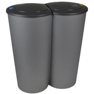 Duo-Abfalleimer grau anthrazit 2x25L Mülleimer Müllsammler Abfallsammler Eimer
