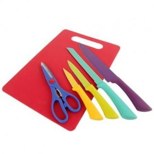 Messer Set 6-tlg Schneidebrett Küchenmesser Brotmesser Kochmesser Allzweckmesser