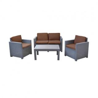 Lounge Auflagen-Set 8er Cappuccino-Braun Sitzgruppe Sessel Sofa Kissen Garten