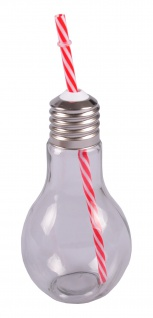 Trinkglas Glühbirne +Trinkhalm 500ml Trinkbecher Saftglas Partybecher Getränke - Vorschau 5