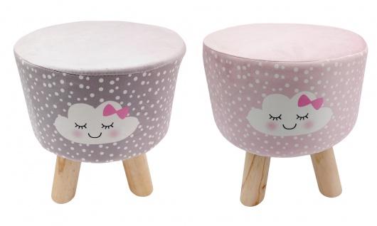 Hocker Wolke mit Stoffbezug rosa grau Sitzhocker Pouf Schemel Holzhocker Fußbank
