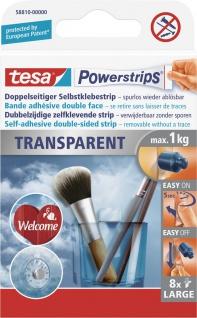 "tesa POW.STRIPS Powerstrips® ,, Transparent Large"" 58810 Transp. Large 8st."