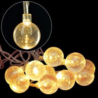 LED Lichterkette mit Glitzerkugeln Weihnachtsbeleuchtung warmweiß Weihnachten