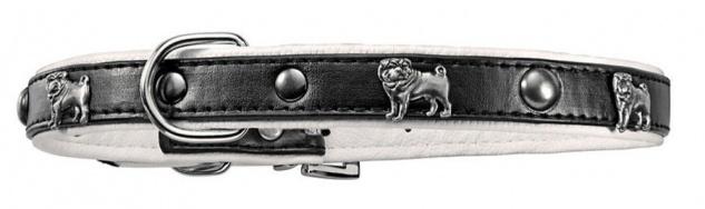 3x Mops-Hundehalsband Nietenhalsband 33-50cm Welpenhalsband Kunstleder Nieten