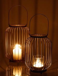 Metall-Laterne mit Glaseinsatz Kerzenhalter Glaslaterne Kerzenständer Hängelampe