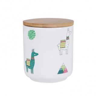 Keramik Dekodose Lama mit Holzdeckel Vorratsdose Keksdose Keramikdose Dose Deko