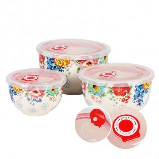 Keramikschüsseln mit Frischhaltedeckel 3er-Set Servierschüssel Salatschüssel - Vorschau 3