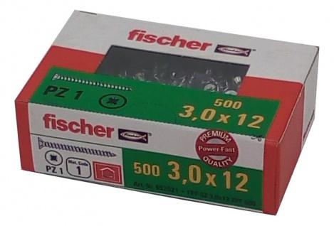 500x fischer Spanplattenschrauben 3, 0x12 PZ1 Holzschrauben verzinkt Vollgewinde
