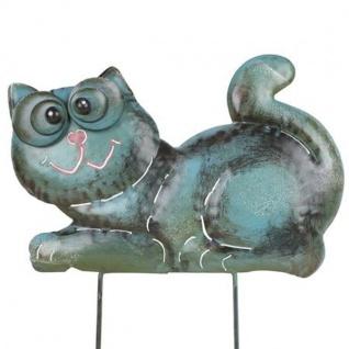 Metall-Beetstecker Katze Gartenstecker Gartendeko Gartenfigur Shabby 36x24x2, 5cm