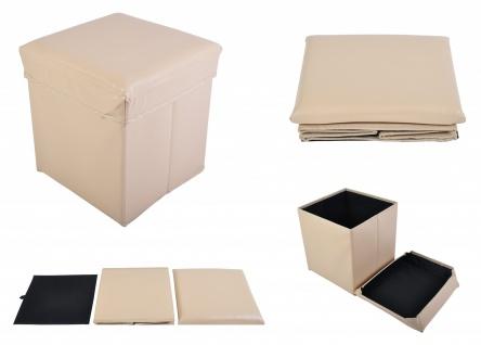 Faltbarer Sitzwürfel Aufbewahrungsbox Sitzhocker Sitzbank Truhe Fußbank beige