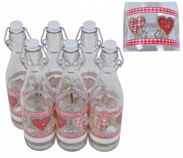 6er-Set Glasflasche mit Bügelverschluss 1 Liter Love Wasserflasche Trinkflasche
