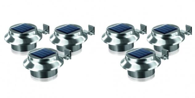 LED Dachrinnenleuchten 6er-Set aus Edelstahl Zaunleuchte Wegelicht Solarleuchten