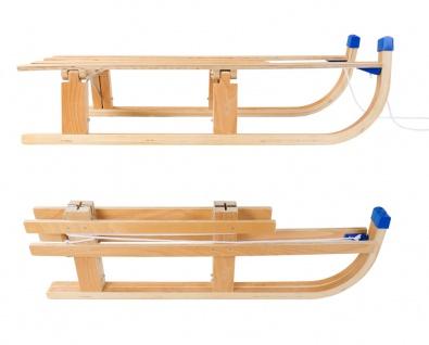 Klapp-Schlitten aus Holz mit Zugleine 110x30 cm Rodeln Schnee Kinder Winterspaß