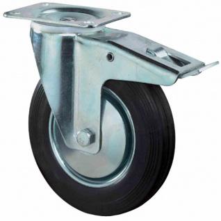 Lenkrollen Gummi 100mm mit Feststeller 104x80mm 70kg Tragfähigkeit Rollen Rad