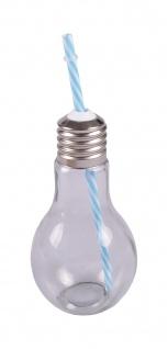 Trinkglas Glühbirne +Trinkhalm 500ml Trinkbecher Saftglas Partybecher Getränke - Vorschau 2