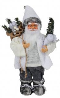 Deko-Weihnachtsmann 30cm mit Mantel und superweicher Mütze mit Glocke