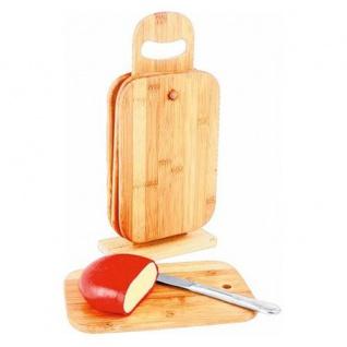 4er-Set Bambus-Frühstücksbretter + Ständer Schneidbrett Küchenbrett Holzbrett