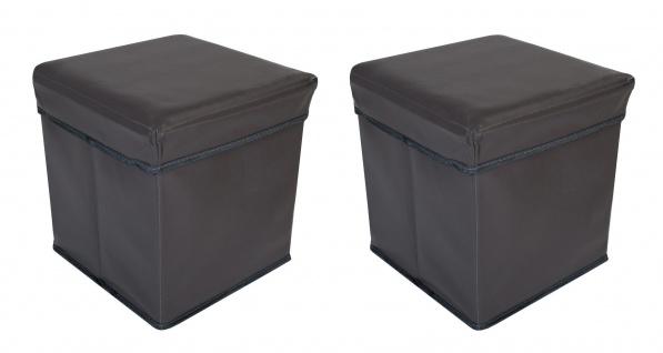 2x Faltbarer Sitzwürfel Aufbewahrungsbox Sitzhocker Sitzbank Truhe Fußbank Taupe