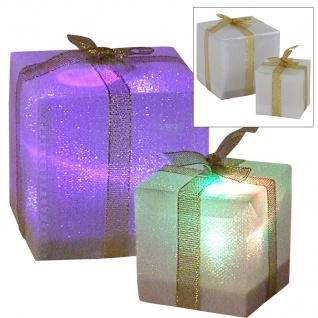 LED-Geschenkpäckchen mit Farbwechsler 7, 5cm Weihnachtsdeko Tischdeko Päckchen