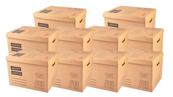 10x Archivkarton Aktenordner Umzugskarton Aktenkarton Aufbewahrung Transport
