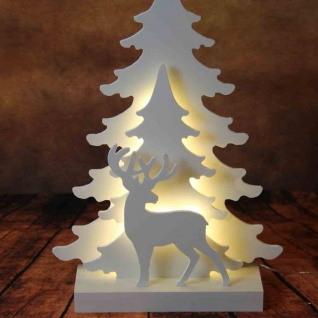 LED-Holz-Silhouette Tannen mit Rentier 40cm Tannenbaum Weihnachtsdeko Gartendeko
