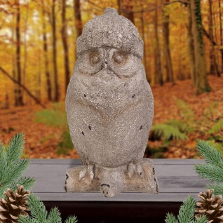 Deko-Eule Wollmütze Tierfigur Eulenfigur Gartendeko Winterdeko Mütze Uhu Kauz