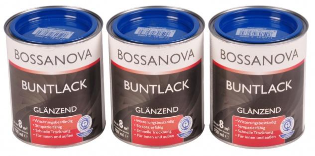 Acryl Buntlack 3x 0, 75 L enzianblau glänzend Metall Holz Lack Glanzlack Decklack