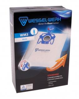 Wessel-Werk WM3 4 Staubsaugerbeutel für Miele mit Staubverschluss + Motorfilter